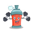 fitness aerosol spray can character cartoon vector image vector image