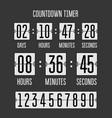 flip countdown clock counter timer on black vector image vector image