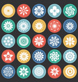 flower icons set on color circles black background vector image