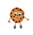 funny chocolate chip cookie isolated on white vector image vector image