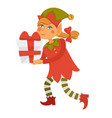 girl elf carries bix gift box with red bow vector image