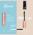 golden mascara make-up booklet or brochure vector image vector image