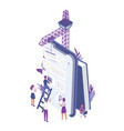 group tiny people creating or building mobile vector image