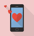 Heart icon on smart phone vector image vector image