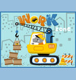 heavy equipment cartoon little animals on work vector image