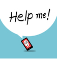 Help me Smartphone addiction concept cartoon vector image