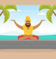 hindu in turban soaring in air and meditating vector image vector image