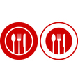 icons with plate fork spoon knife vector image vector image