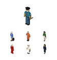 isometric people set of seaman hostess cleaner vector image
