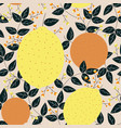 lemons oranges with leaves and berries seamless vector image