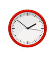 modern round office wall clock in red color time vector image vector image