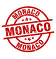 monaco red round grunge stamp vector image vector image