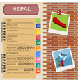 Nepal infographics statistical data sights vector image