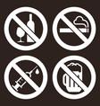 no alcohol sign no smoking sign no alcohol sign vector image vector image