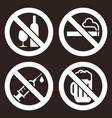 no alcohol sign smoking sign alcohol sign vector image vector image