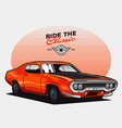 orange classic muscle car vector image