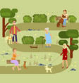 people with dogs vector image