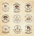 pirate vintage logos vector image vector image