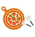 pizza margarita on a wooden board with utensils vector image vector image