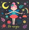 poster with magic night fairy vector image vector image