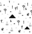 pyramids indian tents saguaro agaves and opuntia vector image vector image
