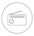 radio icon black color in circle or round vector image vector image