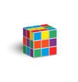 rubik cube unsolved puzzle 3d isometric shape vector image