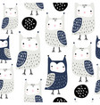 seamless pattern with owls and abstract shapes vector image vector image