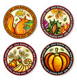 set of seasonal autumn round drink coasters vector image vector image