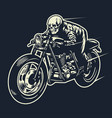 skull ride cafe racer motorcycle vector image