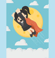 super businessmen flying in sky full moon vector image vector image