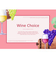 wine choice promo poster on vector image vector image