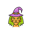 witch in pointed hat with token head face portrait vector image vector image