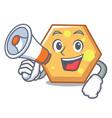 with megaphone hexagon character cartoon style vector image vector image