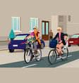 women biking with their kids vector image