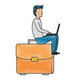 young man working with laptop in portfolio vector image