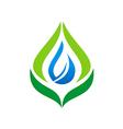 eco leaf bio organic water drop logo vector image
