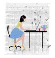 glamorous laptop girl vector image