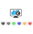 euro stock market monitoring icon vector image