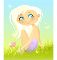 sitting on a grass vector image