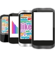 Smart phone set with social media word cloud vector image
