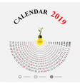 2019 calendar template with idea light bulb vector image vector image