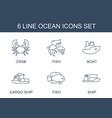 6 ocean icons vector image vector image
