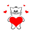 a loving cat with a heart vector image