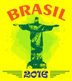 abstract brasil 2016 design with statue over vector image