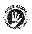 alien hand and stars vintage black emblem vector image