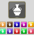 Amphora icon sign Set with eleven colored buttons vector image vector image