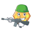 army hexagon character cartoon style vector image