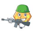 army hexagon character cartoon style vector image vector image