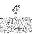 Artist tools sketch hand drawn horizontal banner vector image